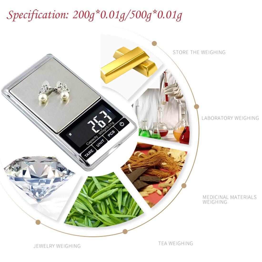 Detail Gambar Presisi 200/500G X 0.01G Mini Skala Digital Saku Emas Sterling Perhiasan Perak Timbangan Keseimbangan Gram Timbangan Elektronik Terbaru