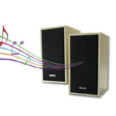Enco Amuze A10 Speaker Series 2.0 Multimedia Satellite Speakers for Desktop Computer PC (Light Wood Variant)