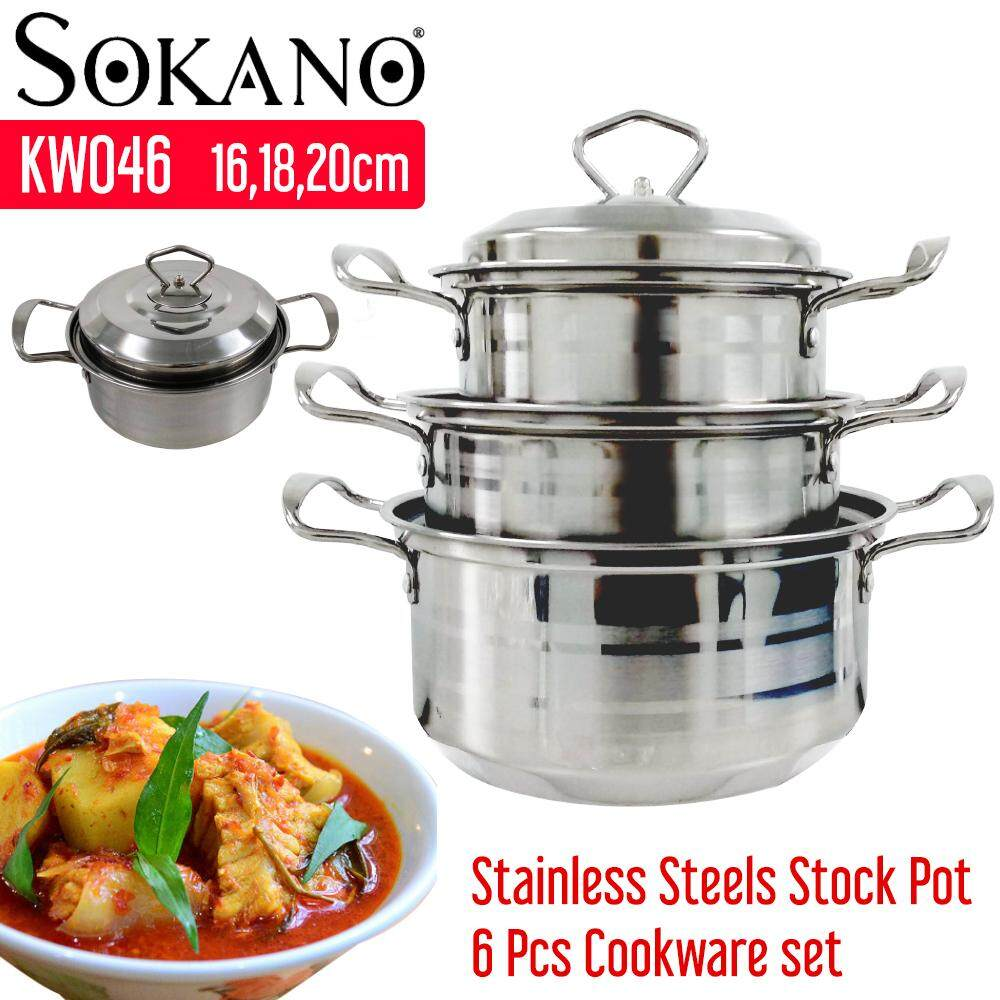 SOKANO KW046 6pcs Set 16,18,20CM Stainless Steel Stock Pot Casserole Cookware Periuk Masak