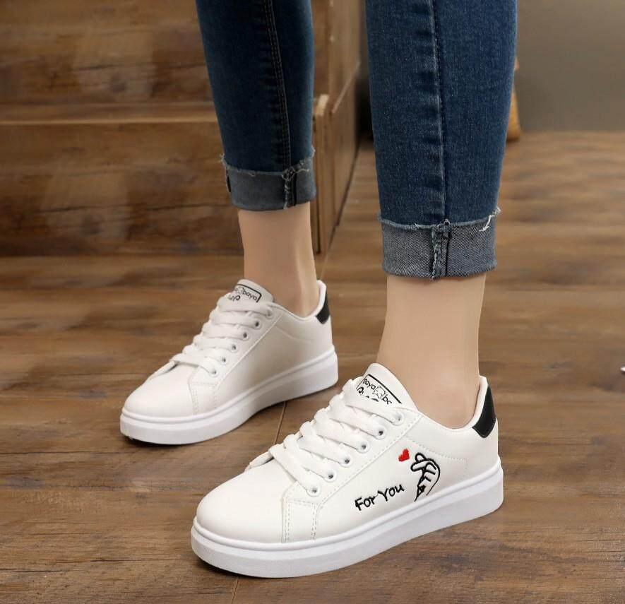 Casual pasang anak perempuan remaja Olah Raga sepatu putih kecil Casual siswa sekolah dasar sepatu lapisan
