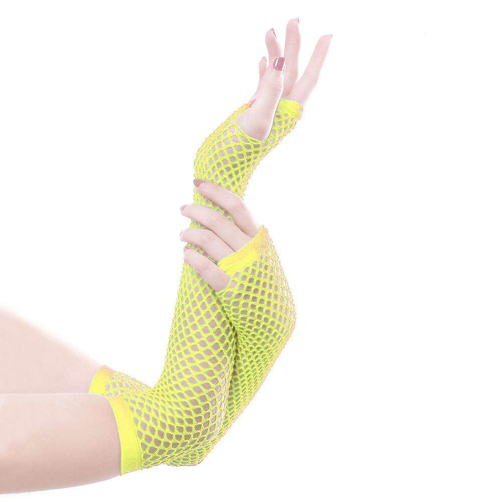 Windycat Wanita Warna Solid Stoking Jala Setengah Tangan Tanpa Jari Sarung Tangan Panjang dengan Lubang Jempol
