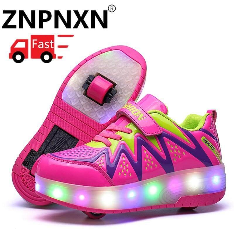 Znpnxn Anak Sepatu Roda Anak dan Perempuan Kasual dengan Lampu LED Sepatu  Olah Raga Modis untuk 2b63e5364a