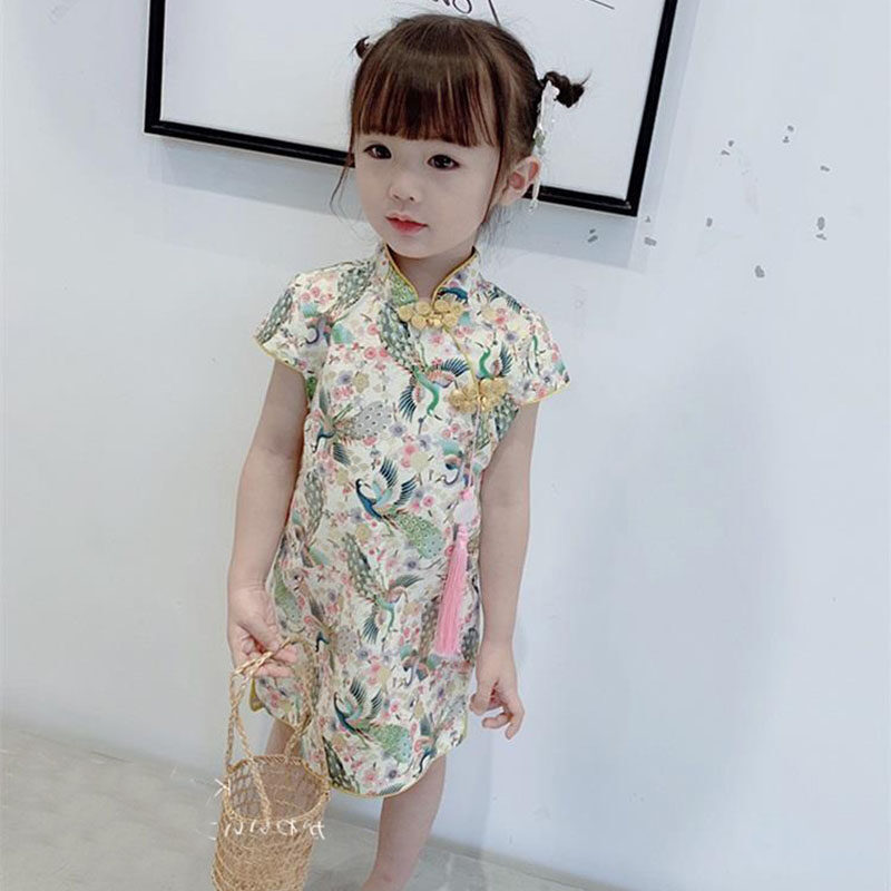 Toddler Kids Baby Girls Summer Floral Chinese Cheongsam Qipao Dress Traditional