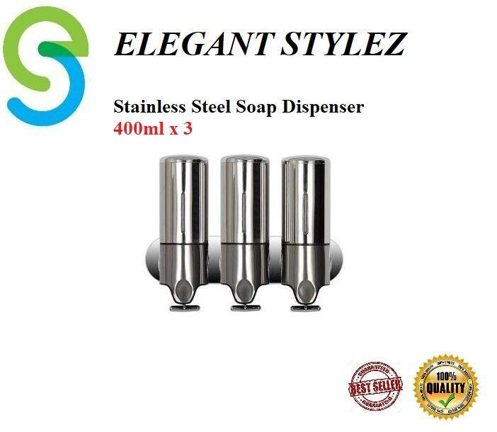 ELEGANT STYLEZ BATHROOM 400ML X 3 STAINLESS STEEL SOAP DISPENSER WALL MOUNTED SHOWER DISPENSER EL-SD400X3SS