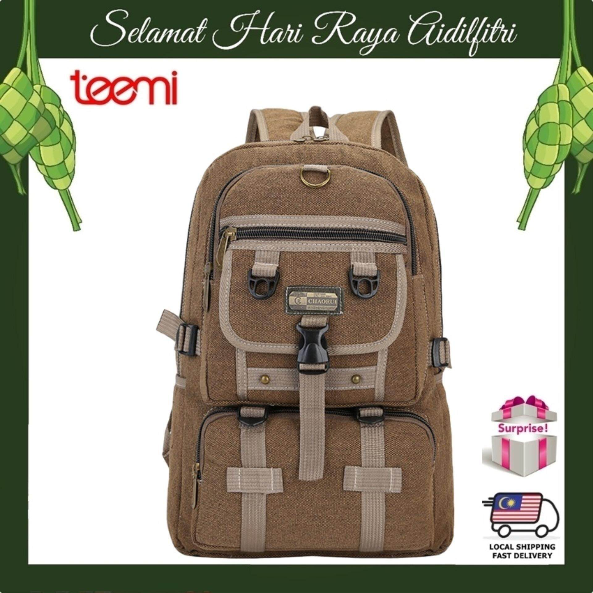 TEEMI Canvas Backpack Rucksack Outdoor Outing Camping Travel Rugged Bag - Brown