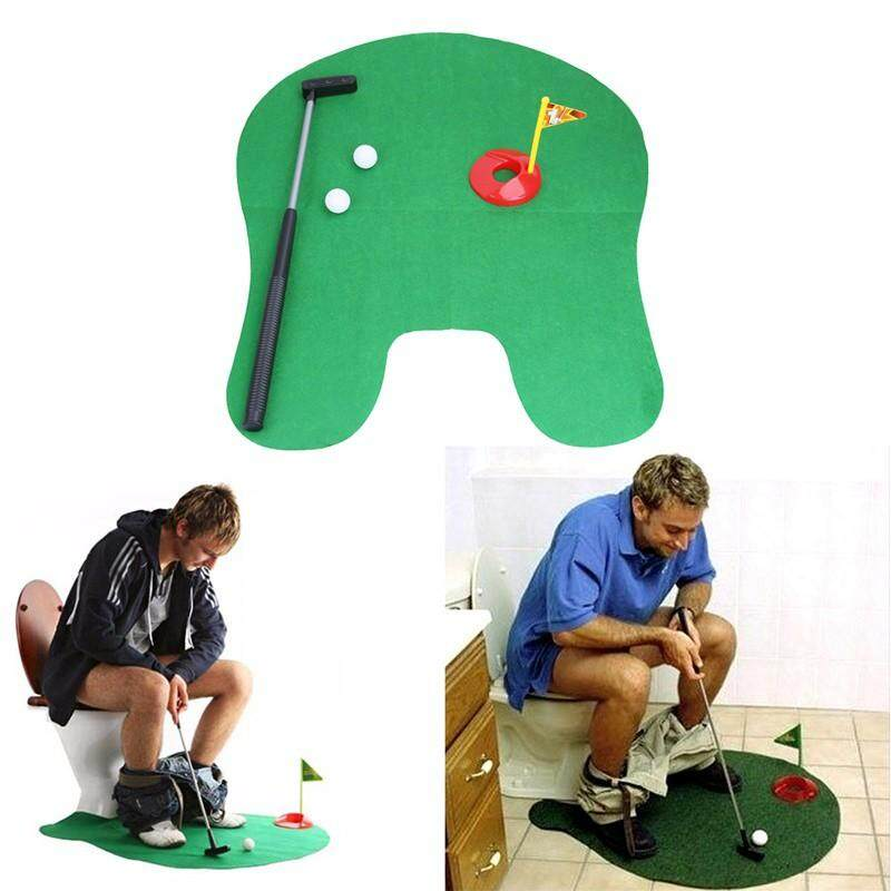 Potties - Potty Putter Toilet Golf Game Mini Golf Set Putting Green Novelty Game Toy Gift
