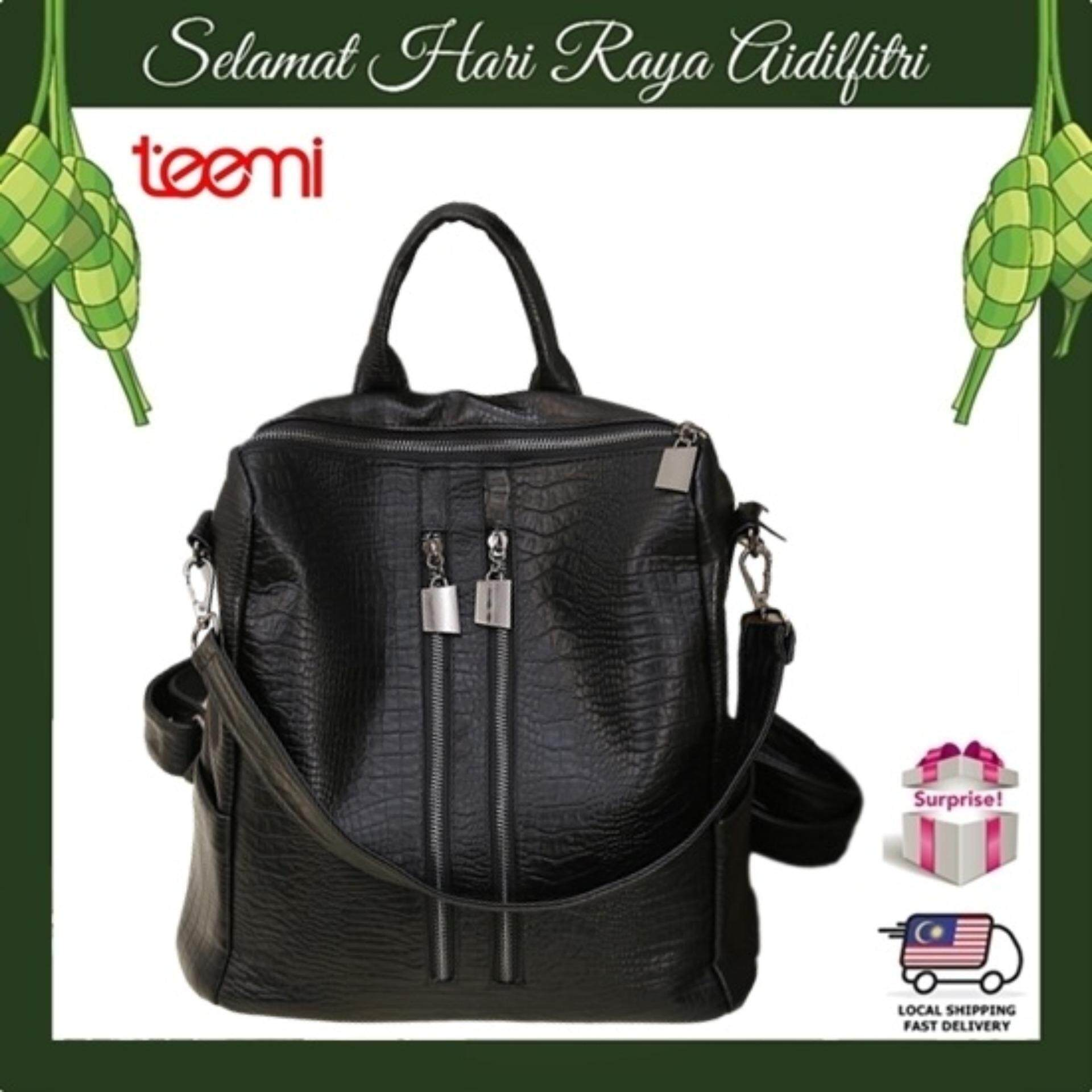 TEEMI Double Zipper 2 way Faux Leather Women Fashion Backpack Tote Shoulder Bag