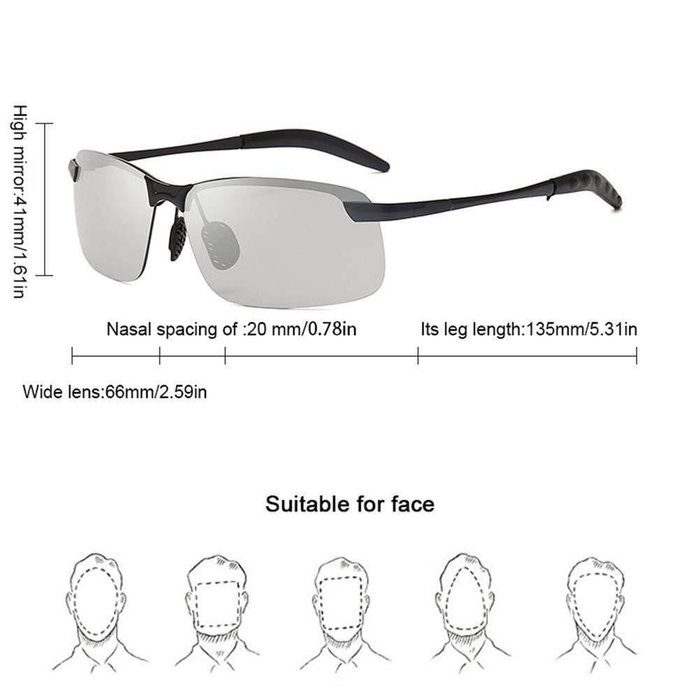 Lightsmile Kacamata Fotokromik Pria Terpolarisasi Mengemudi Kacamata Bunglon Berubah Kacamata Berwarna HD Hari Modus Malam Kacamata