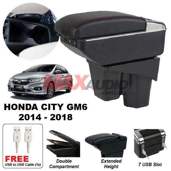 [FREE GIFT] HONDA CITY GM6 2014 - 2018 Premium Quality Adjustable Black Leather With Red Stitch Arm Rest with USB Charger Extension & Cup Holder