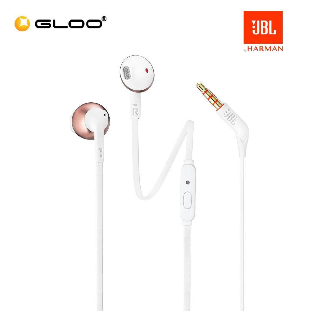 JBL T205 Earbud Headphones Black/Cream/RoseGold