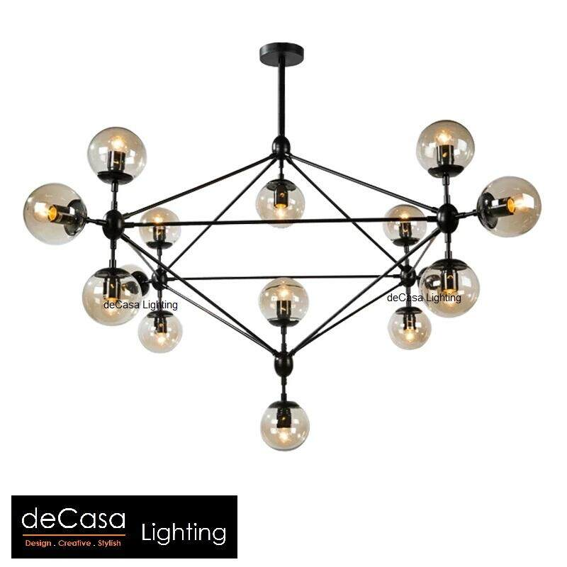 New Arrival Modern Designer Industrial 10 & 15 Glass Chandelier DECASA Designer Decorative Modern Glass Ceiling Light Haging Light (UBS-MD5098)