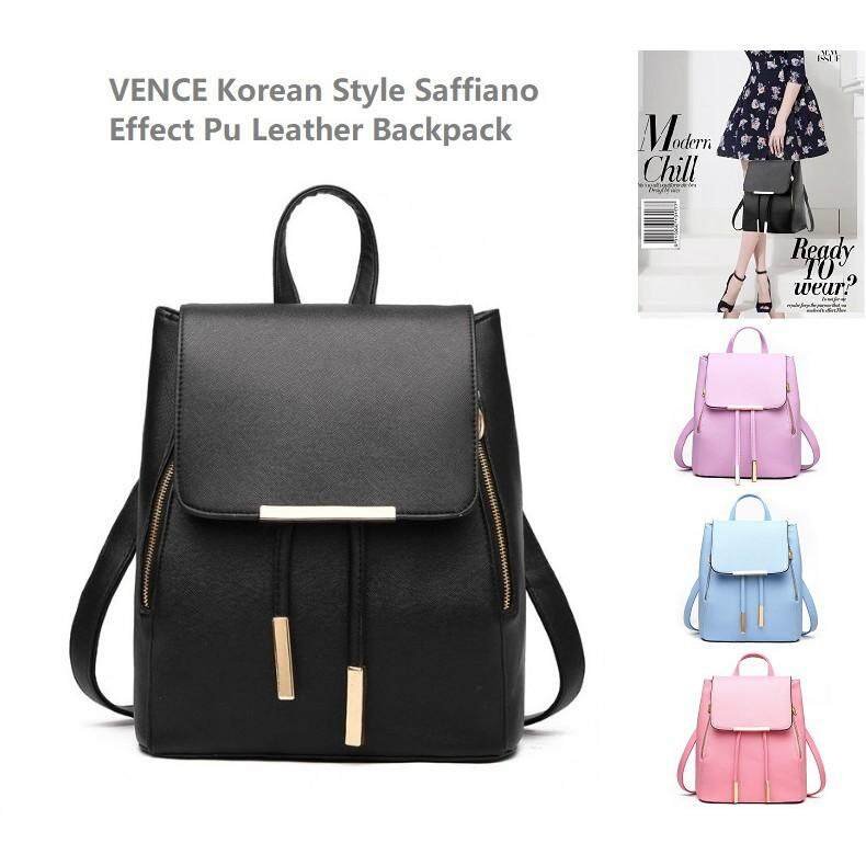 Backpack - Vence Korean Style Saffiano Effect PU Leather Backpack - [BLACK / HOT PINK / PURPLE / LIGHT BLUE]