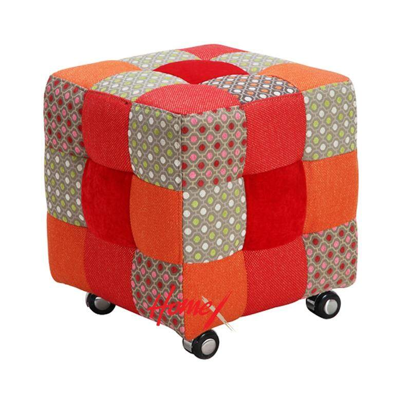 Designer Series 010 Patchwork Fabric Stool with Plastic Wheel (Design E)