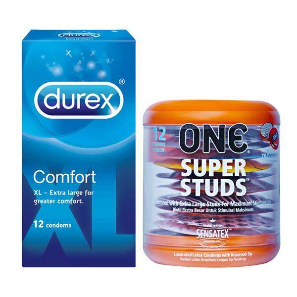 One Super Studs Dotted Condoms 12pc + Durex Comfort XL 12pc