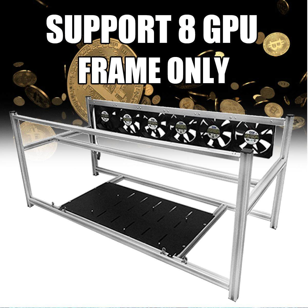 8GPU Aluminum Open Air Mining Rig Stackable Frame Case Miner ETH Ethereum ZCash