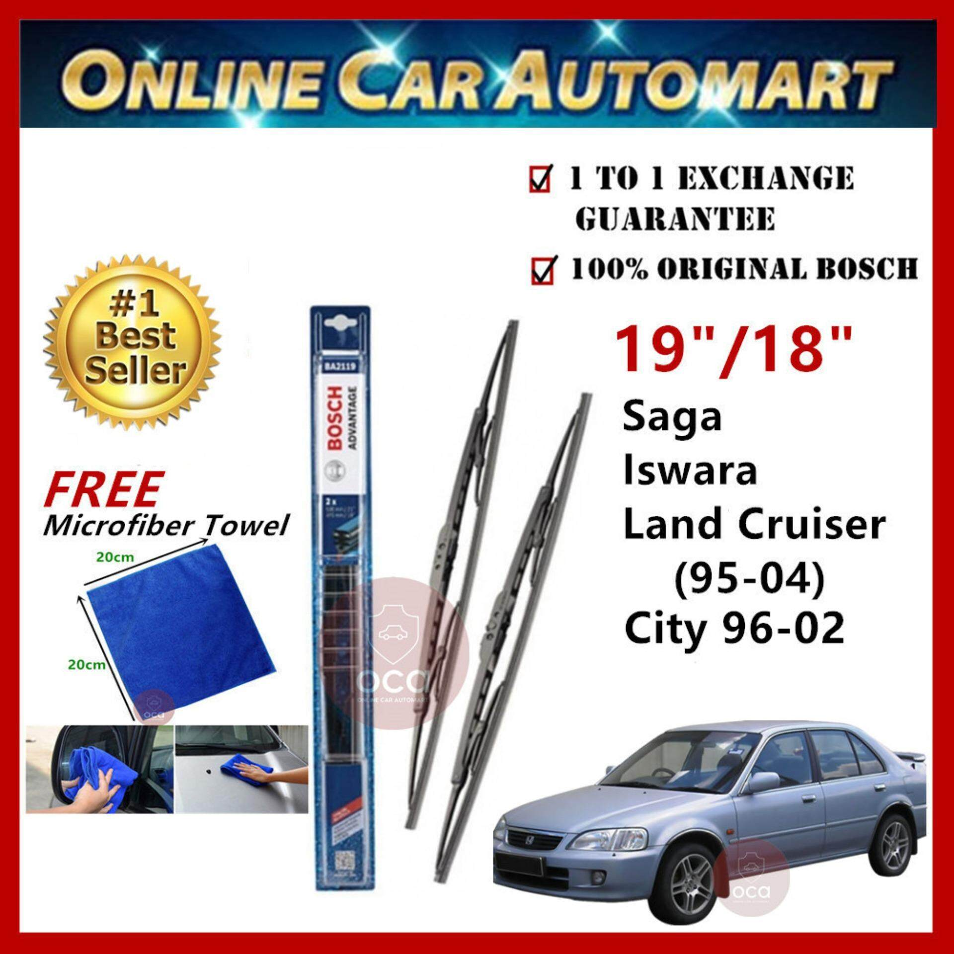 Honda City (SY8) Yr 1996-2002 - Bosch Advantage Wiper Blade (Set) - Compatible only with U-Hook Type - 19 inch & 18 inch