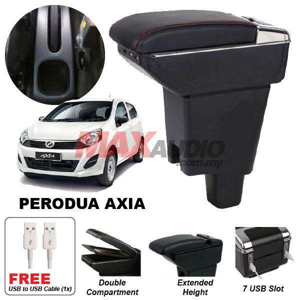 [FREE GIFT] PERODUA AXIA Premium Quality Adjustable Black Leather With Red Stitch Arm Rest with USB Charger Extension & Cup Holder