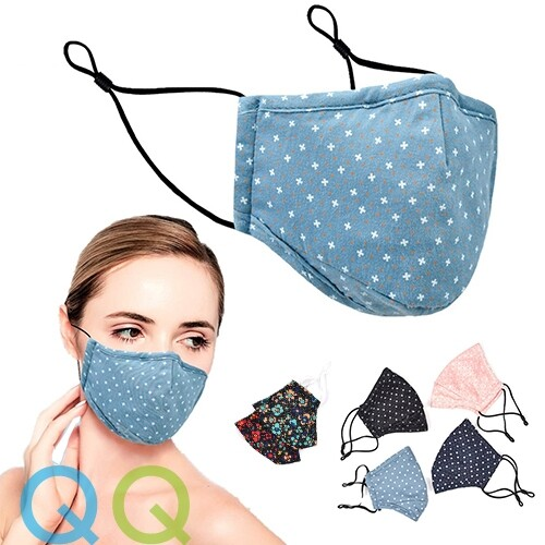 QQ Unisex Adult Reusable Handmade Cloth Face Mask with Filter Pocket, Nose Wire and Adjustable Earloop 3 Ply Layers Washable Cotton Breathable Anti Dust UV Protection Anti Haze Face Mouth Cover Mask Topeng Muka