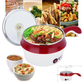 Harga 18cm 450W Multi-function Electric Steamer Pan Instant Noodles Small Hot Pot Hot Cooking Frying Pan