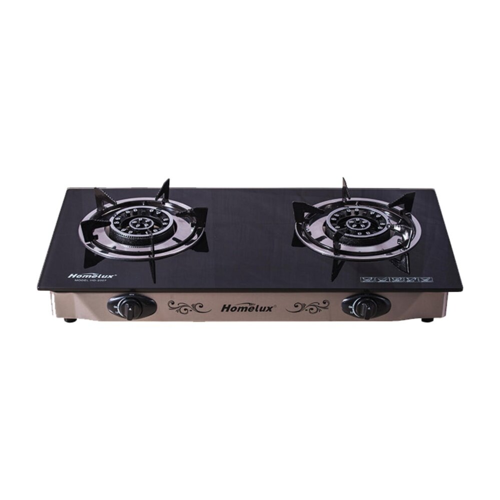 1pcs High Quality Homelux HD2007 Tempered Glass Double Gas Stove (Grey)
