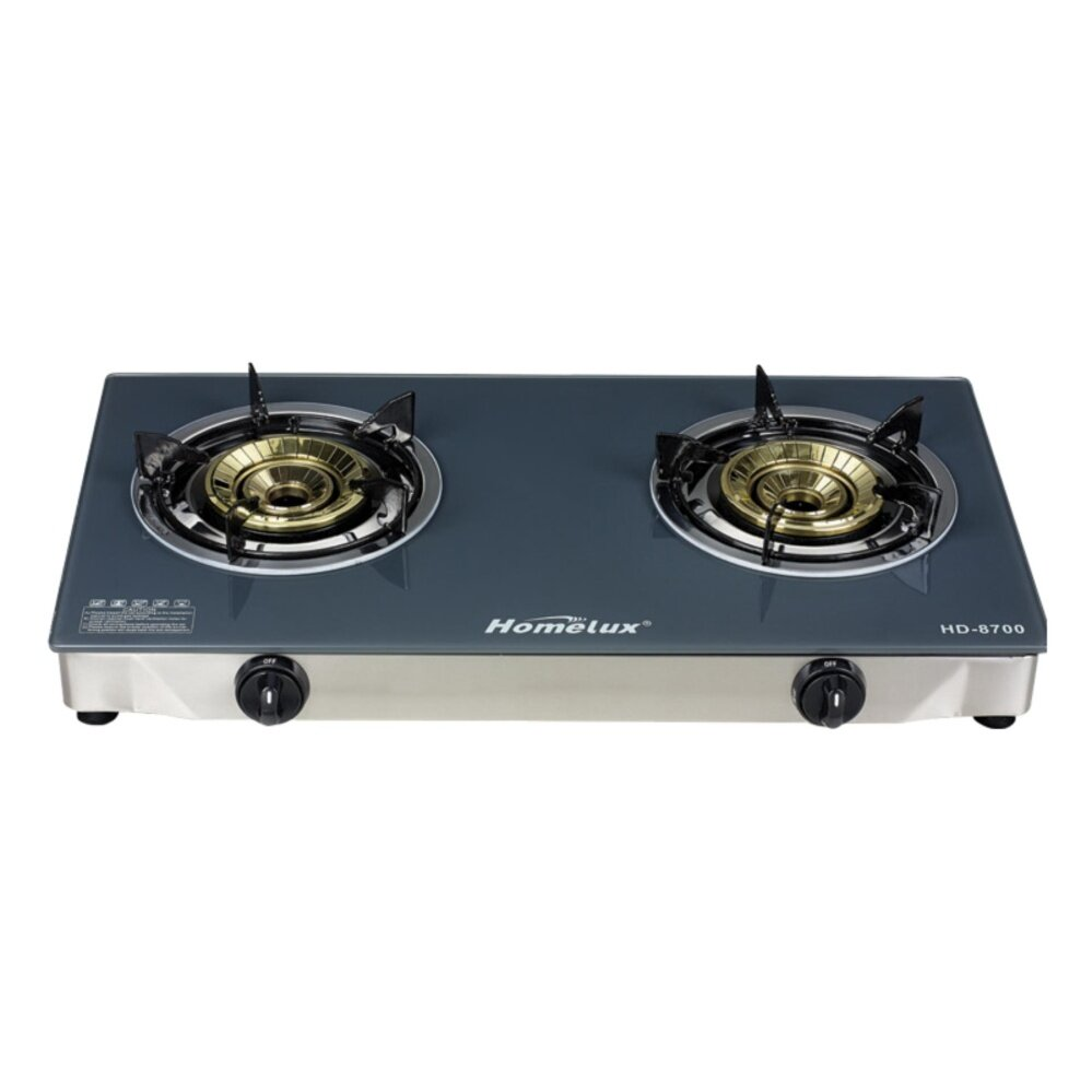 1pcs High Quality Homelux HD8700 Tempered Glass Double Gas Stove (Silver)