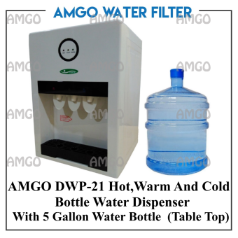 Harga AMGO 21T Hot,Warm And Cold Table Top Water Dispenser Bottle TypeWith 5 Gallon Water Bottle