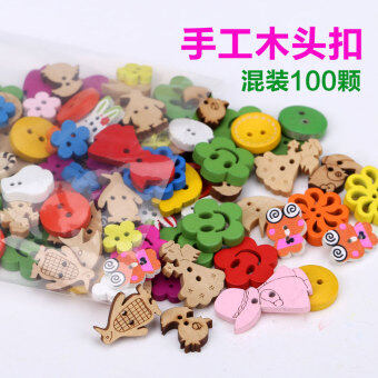 Harga Button buttons mixed wooden wood buttons child DIY sticker workbutton decorative buckle wood handmade Buckle