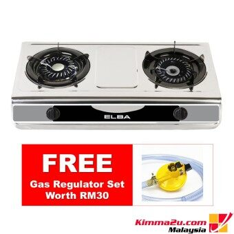 Harga [FREE GAS REGULATOR] Elba Stainless Steel 2 Burner Gas Cooker EGS-F7112(SS)