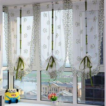 Harga 100*80cm Embroidery Roman Curtain Voile Sheer Curtains for Bathroom Kitchen