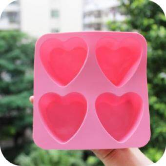 Harga Lovely heart-shaped silicone ice lattice ice cream ice cream ice cream pudding soap mold mold food box