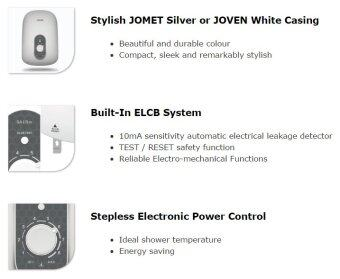 Harga Joven Instant Water Heater With Built-In ELCB System SA15m (WHITE)
