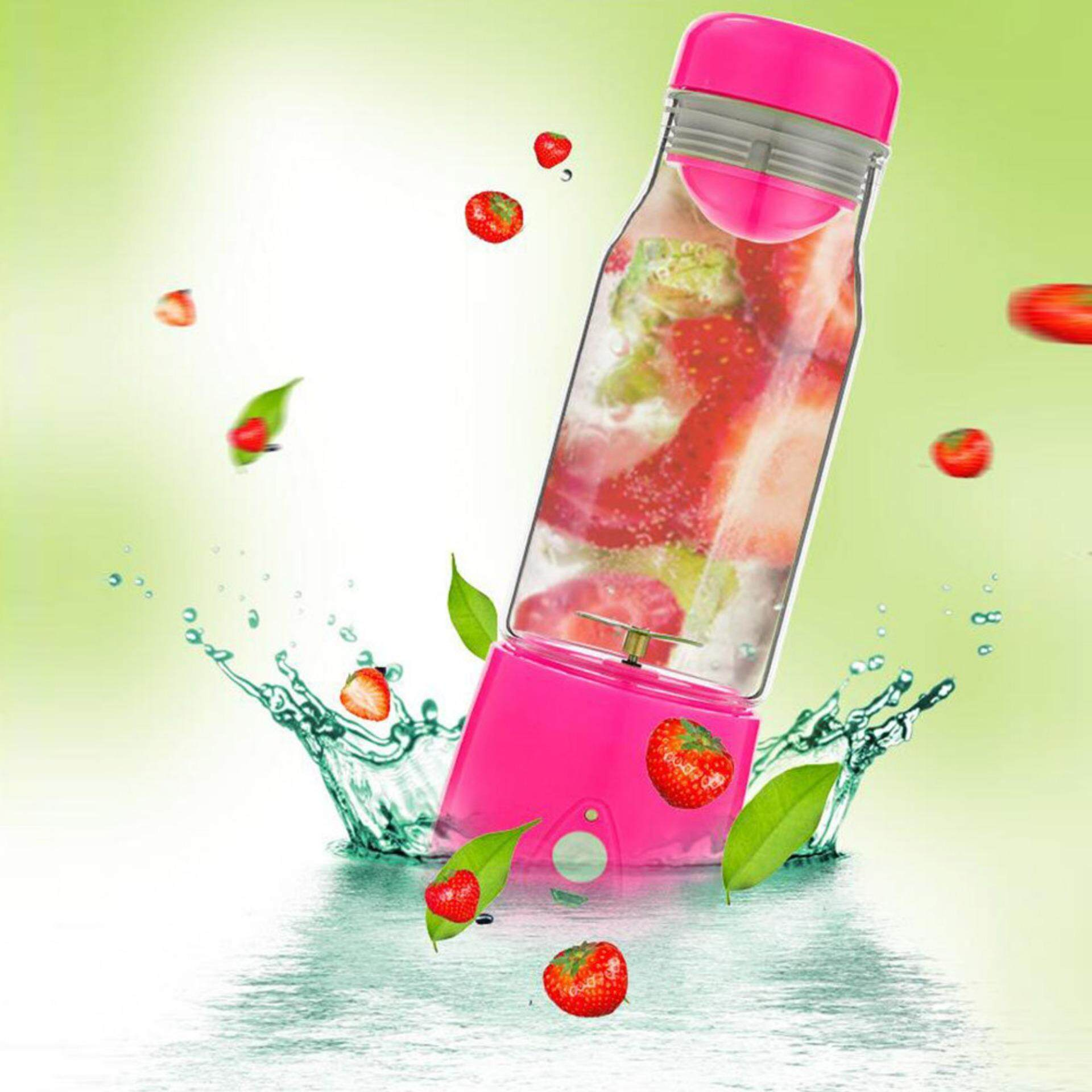 Mini Portable Rechargeable USB electric fruit juicer/smoothie maker - Pink