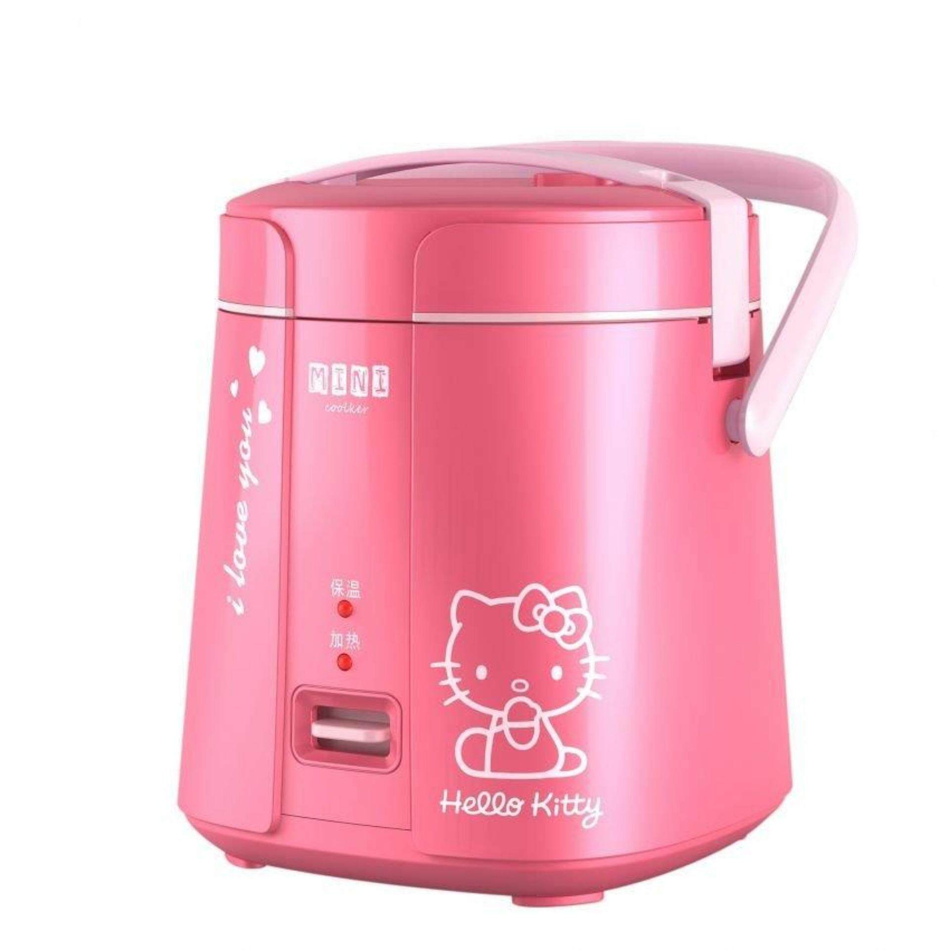 Portable 1.2L Mini Rice Cooker Stainless Steel Container-Pink