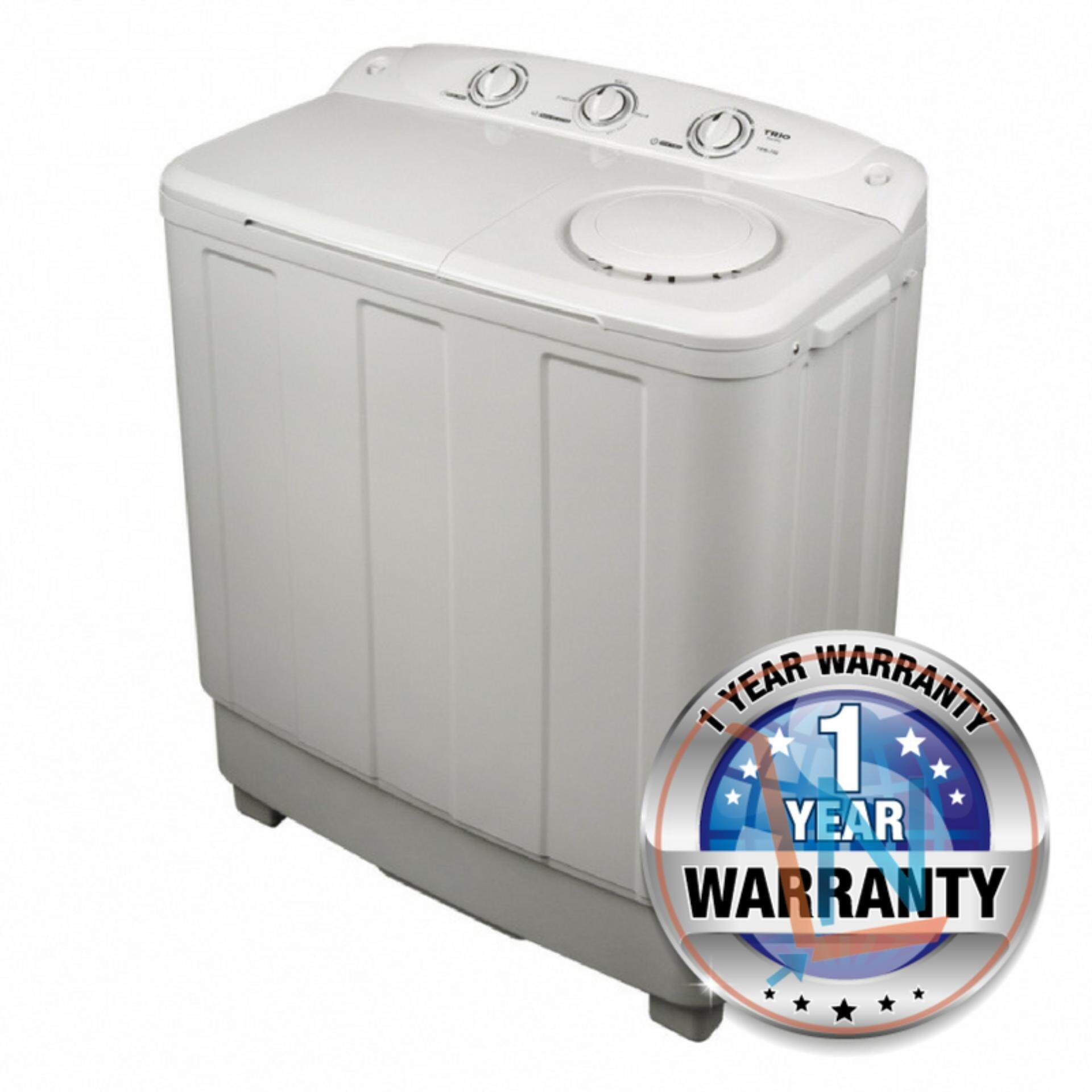 Trio TSW-750 Semi-Auto Washer, 3 Wash Programme , 7.0Kg (White)