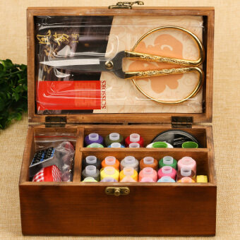 Harga Vintage wood handmade wood sewing box household sewing kit sewingkit sewing sew line practical storage