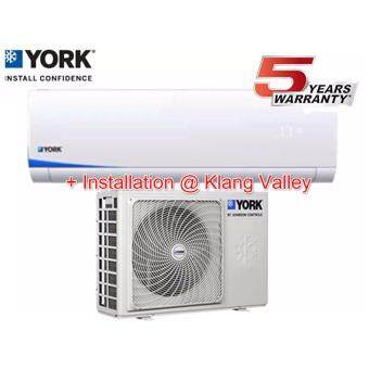 York 1.0hp Inverter Air Cond YWM5J10AAS/YSL5J10AAS + Installation In Klang Valley