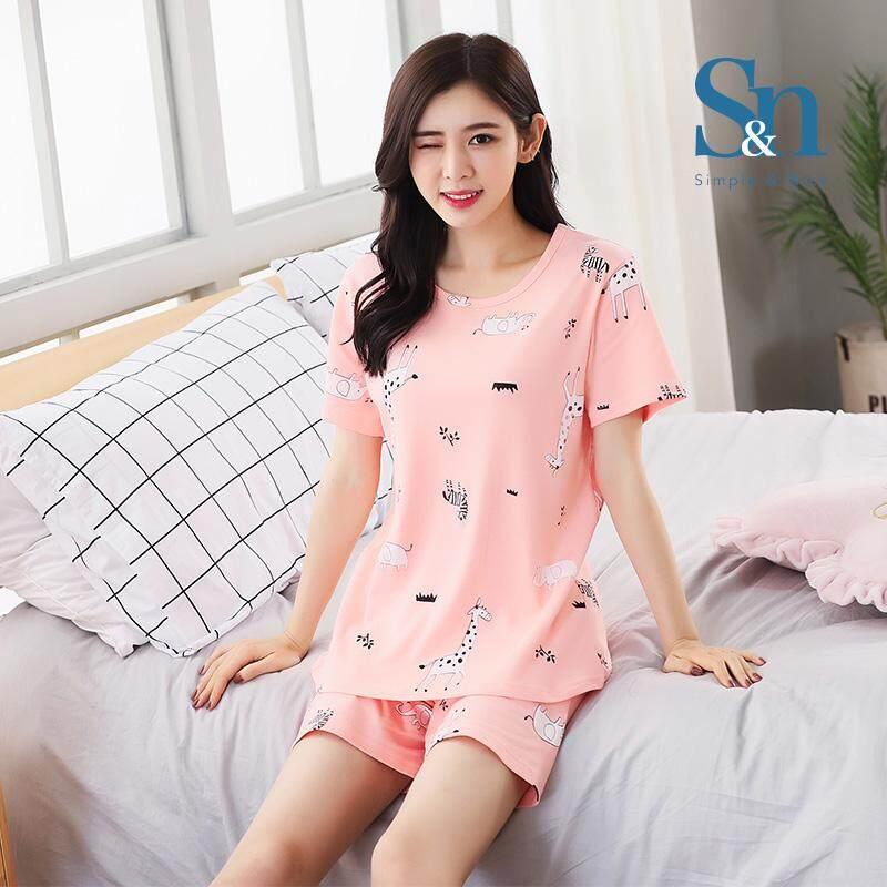 【SIMPLE & NICE】Malaysian Fashion Women Animal Design Summer Wear Set (Pink -Size: M-XXL)
