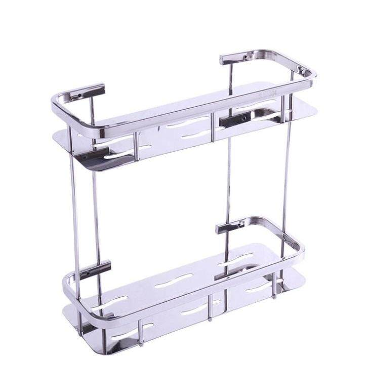ELEGANT STYLEZ SUS304 STAINLESS STEEL DOUBLE LAYER RACK SHELF BATHROOM 2 TIER CORNER RACKING STORAGE SHAMPOO RACK SHELF