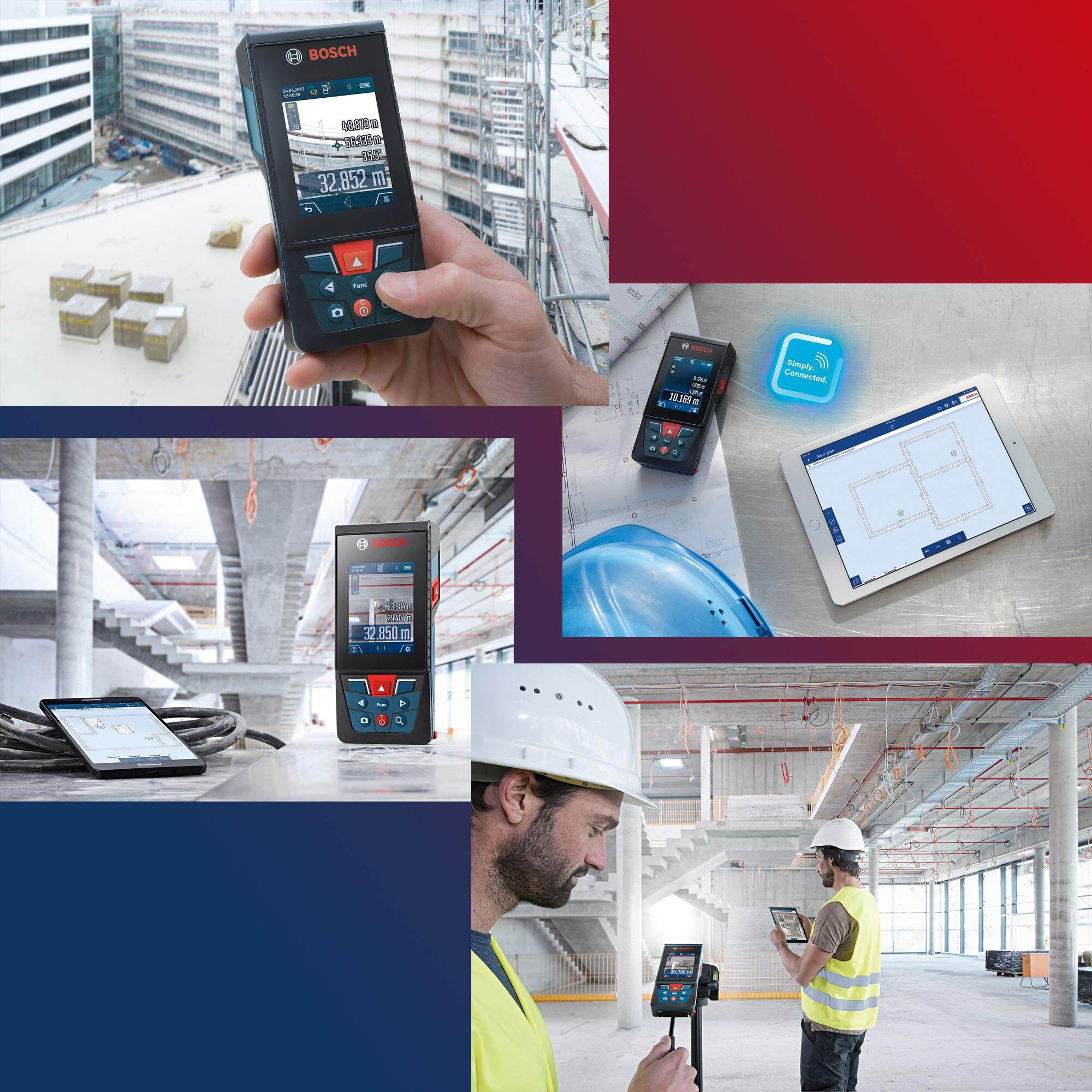 BOSCH GLM150C Laser Measure Professional C/with Battery and Carry Strap &  Pouch AND STANLEY TEST PEN