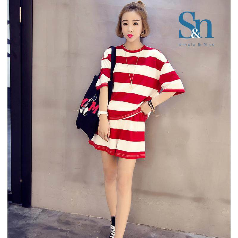 【LIMITED & READY 4 YOU】Women Fashion Strip Design Casual Wear Or Pjyamas Shirt & Pants Sets (White/ Black Strip - Size: M-XXL)