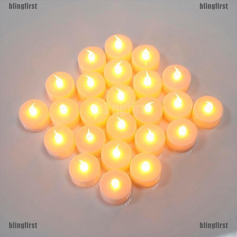 [Bling] Nến Tealight LED Không Lửa Nến Đèn Uống Trà Nến 24 Chiếc Chạy Bằng Pin [FS]