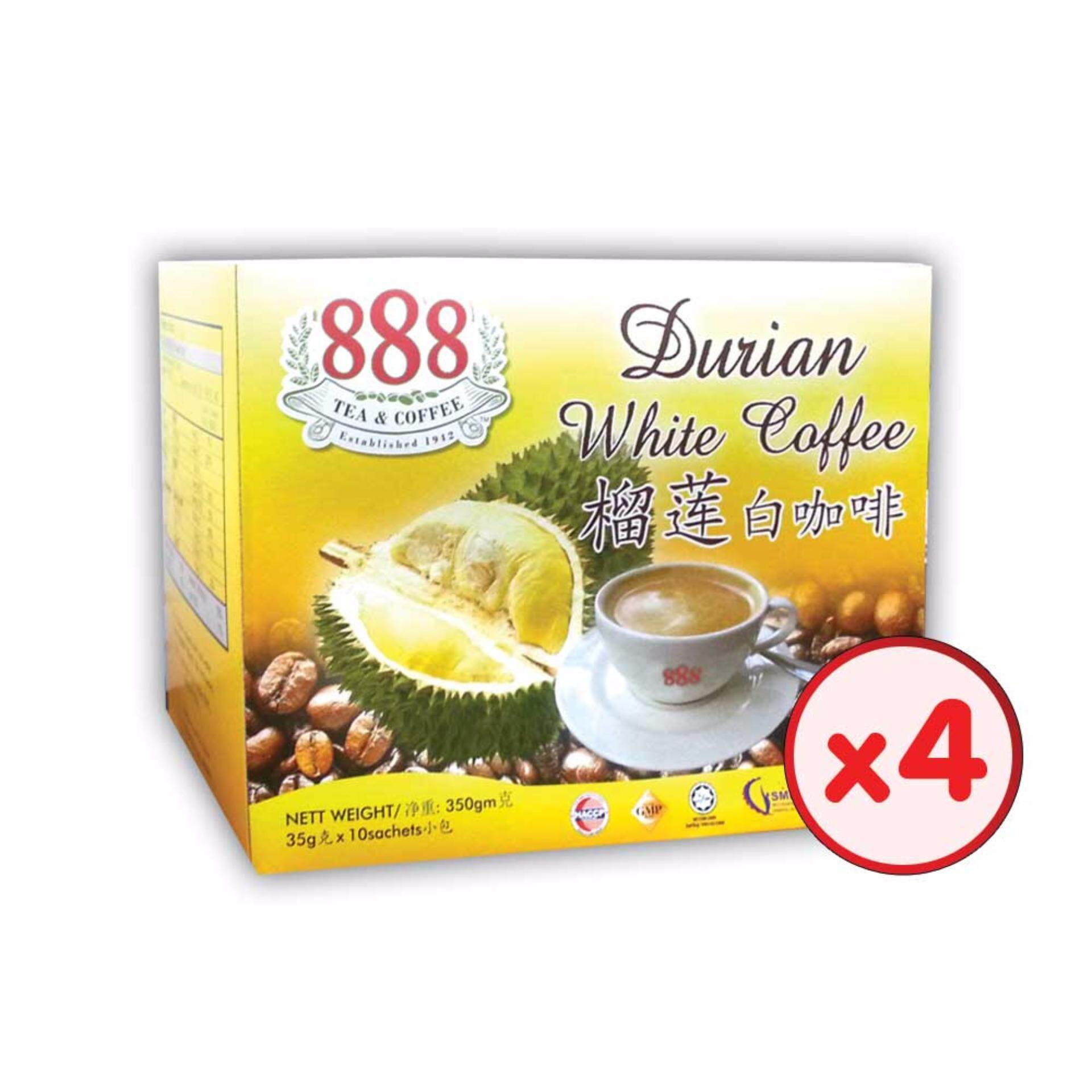 888 3 In 1 Instant Durian White Coffee (35g x 10 Sachets) - [Bundle of 4]