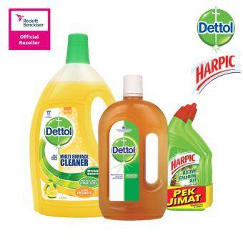 Harga Dettol Multi Action Cleaner Citrus 2.5Litre + Dettol Anticeptic Liquid 1Litre + Harpic Liquid Mountain Pine 500Ml Twin Pack