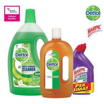 Harga Dettol Multi Action Cleaner Green Apple 2.5Litre + Dettol Anticeptic Liquid 1Litre + Harpic Liquid Lavender 500ml Twin Pack
