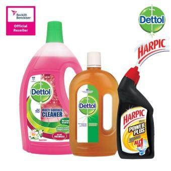 Harga Dettol Multi Action Cleaner Jasmine 2.5Litre + Dettol Anticeptic Liquid 1Litre + Harpic All-In-One Citrus 450Ml Twin Pack