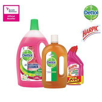 Harga Dettol Multi Action Cleaner Jasmine 2.5Litre + Dettol Anticeptic Liquid 1Litre + Harpic Liquid Wild Flowers 500Ml Twin Pack