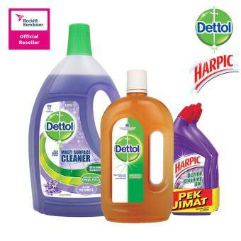 Harga Dettol Multi Action Cleaner Lavender 2.5Litre + Dettol Anticeptic Liquid 1Litre + Harpic Liquid Lavender 500ml Twin Pack