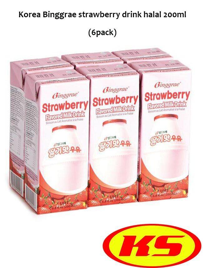 HALAL (6pack) KOREA BINGGRAE STRAWBERRY MILK DRINK 200ML