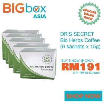 Harga DR's Secret Bio Herbs Coffee 15g x 6 Sachets - Pack of 5