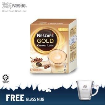 Harga NESCAFE Gold Creamy Latte 12 Sticks @RM12.90 FOC glass mug